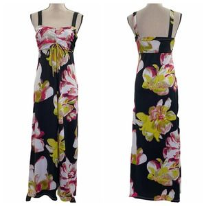 Jonathan Martin Black Floral Maxi Sheath Dress 8
